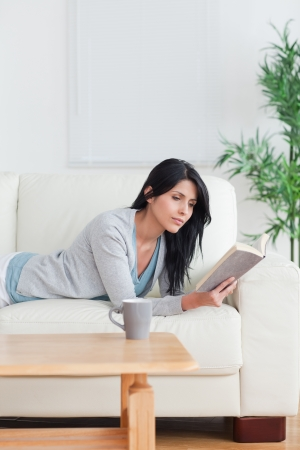 Woman reading a book with a mug on a table while resting on a couch in a living room Stock Photo - 16205150