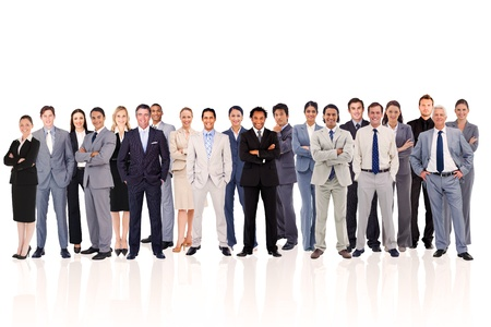Business people standing up against a  white background photo