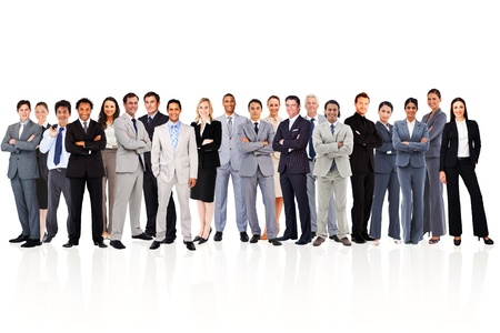happy employee: Business people standing up against a white background