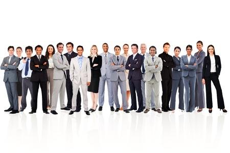 trabajadores: La gente de negocios de pie sobre un fondo blanco Foto de archivo