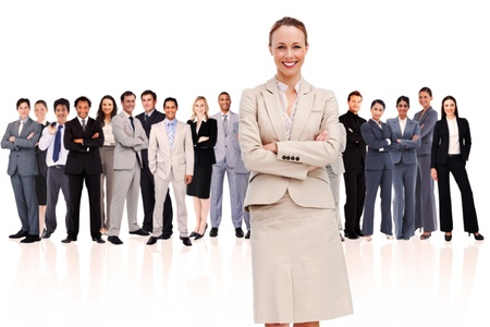 Businesswoman standing up in foreground against a white background Stock Photo - 16201731