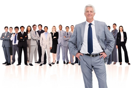 Businessman with hands on hips against a white background Stock Photo - 16202338