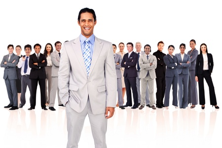 Businessman smiling against a white background Stock Photo - 16201463