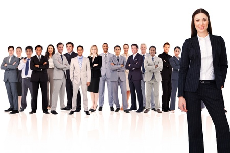 team leadership: Businesswoman smiling against white background