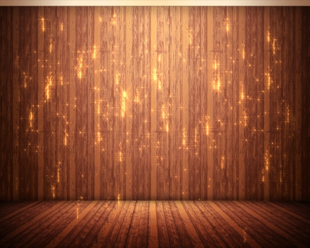 Background of brown flooring with orange illuminations Stock Photo