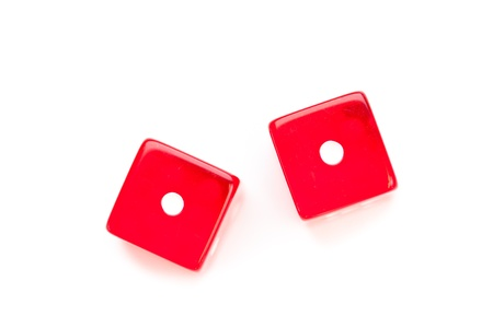 double the chances: Two faces of dices against a white background Stock Photo