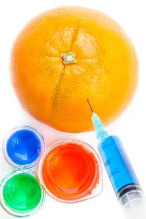 modifying: Beakers next to an orange piercing by a syringe against a white background
