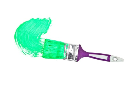 delineate: Green brush stroke forming a semicircle against a white background