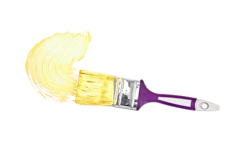 delineate: Yellow brush stroke forming a semicircle against a white background