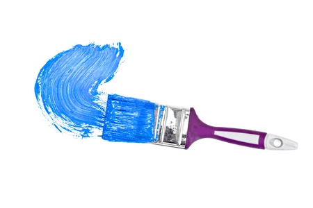 delineate: Blue brush stroke forming a semicircle against a white background