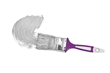 brush stroke: Grey brush stroke forming a semicircle against a white background Stock Photo