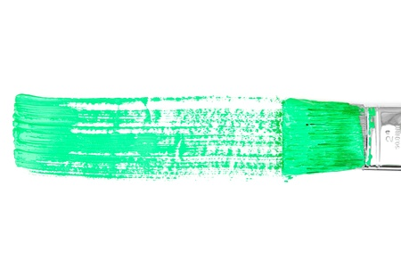 delineate: Green horizontal line of painting against a white background