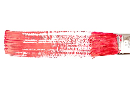 delineate: Red horizontal line of painting against a white background Stock Photo