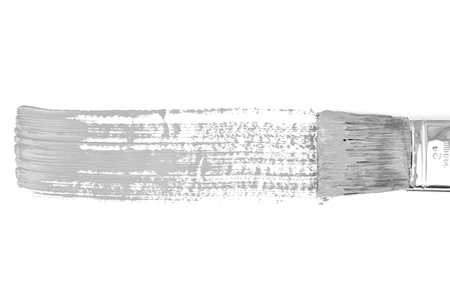 delineate: Grey horizontal line of painting against a white background