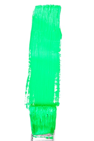 delineate: Green vertical line of painting against a white background