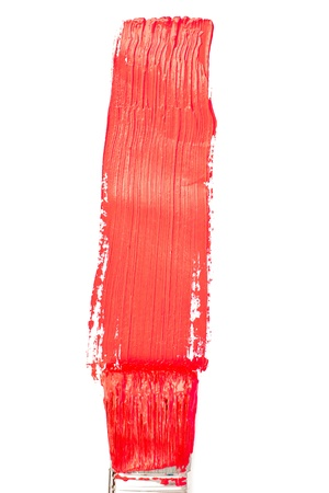 delineate: Red vertical line of painting against a white background