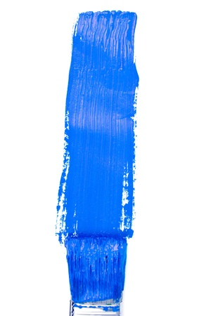 delineate: Blue vertical line of painting against a white background Stock Photo