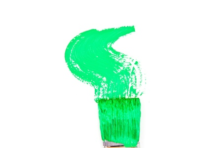 delineate: Green brush stroke forming a zigzag against a white background Stock Photo