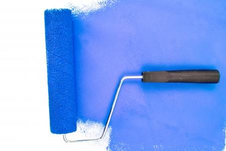 brush stroke: Horizontal blue brush stroke against a white background