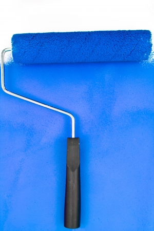 brush stroke: Blue brush stroke with paint roller in a studio Stock Photo