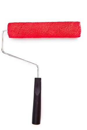 red paint roller: Red paint roller on white background