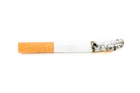 pernicious: Cigarette consumed against a white background