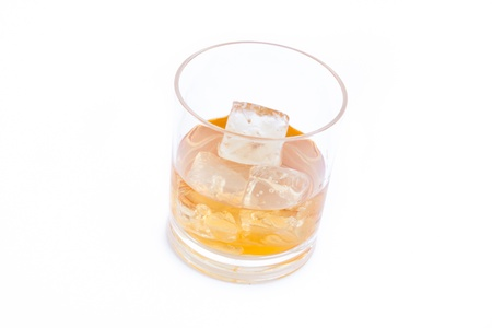 Whiskey on the rocks against a white background Stock Photo - 16200619