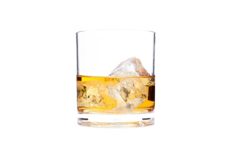 Glass of whiskey against a white background Stock Photo - 16198606