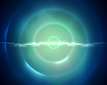 Background of blue and light green circle with a lightning in the middle Stock Photo