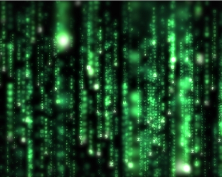 binary matrix: Background of lines of green blurred letters falling