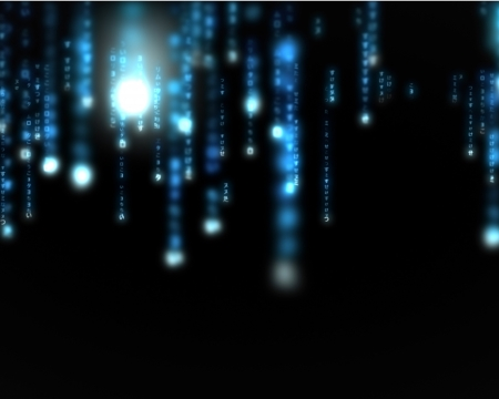 data matrix: Background of blue lines blurred letters falling Stock Photo