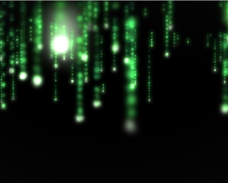 programmer computer: Background of green lines blurred letters falling