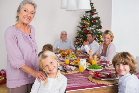 Smiling grandmother and granddaughter standing beside the dinner table at christmas photo