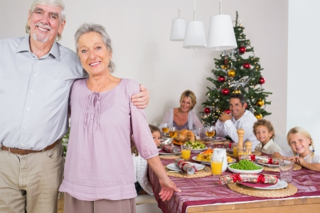Smiling grandparents standing by the dinner table at christmas time photo