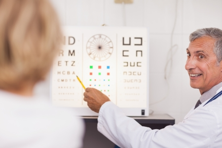 eye test: Doctor doing an eye test on a patient in a hospital examination room