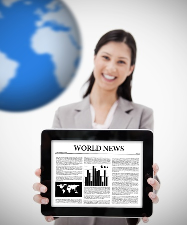 world news: Businesswoman holding digital tablet showing world news on white background with blue globe Stock Photo