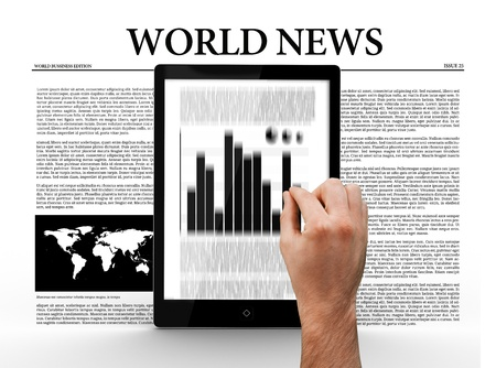 world news: Hand scrolling through digital tablet showing graph on world news background