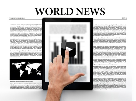 world news: Hand touching play butting on digital tablet showing graph on world news background