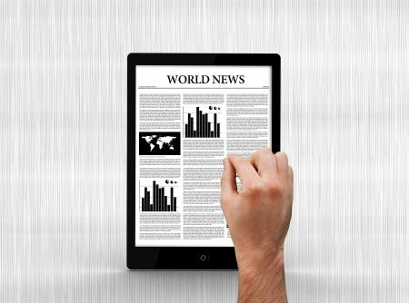 scrolling: Hand scrolling through world news on digital tablet on grey background