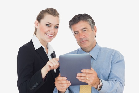 Portrait of happy business people with digital tablet against white background Stock Photo - 18123518