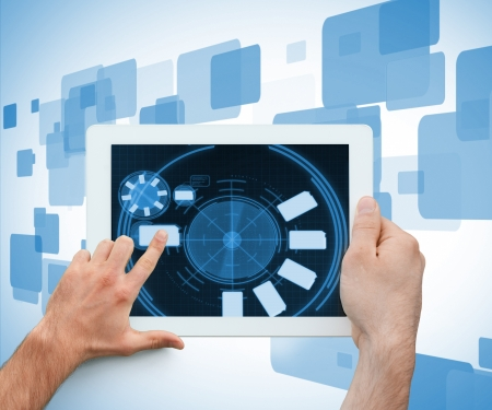 scrolling: Hand holding and finger scrolling a digital tablet on a digitally generated background Stock Photo