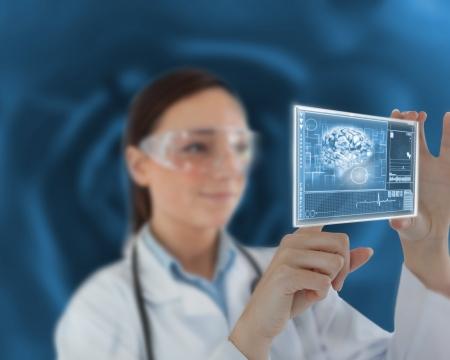 Nurse touching on virtual screen showing us brain photo