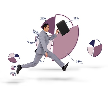 Businessman running with his suitcase against a purple pie chart in background photo