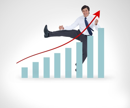graphical: Businessman jumping over the graphical presentation against a white background
