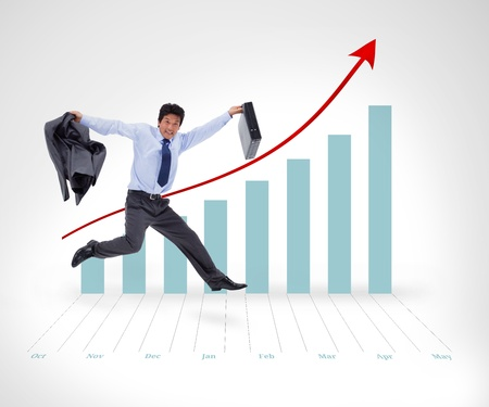 graphical: Businessman running before graphical presentation in the background