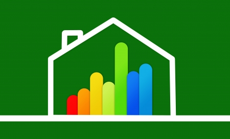 out of context: Energy efficient house graphic against a green background Stock Photo