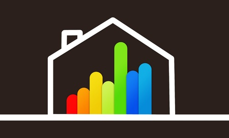 context: Energy efficient house graphic against a black background