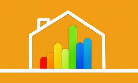 Energy efficient house graphic on yellow background Stock Photo - 18100269