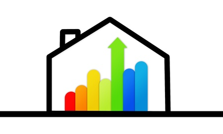 Energy efficient house graphic against a white background Stock Photo - 18100268