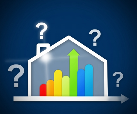 out of context: Question mark above energy efficient house graphic against a blue background Stock Photo